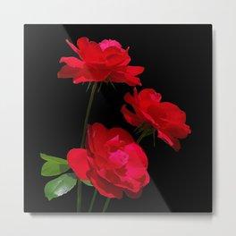 Red roses on black background Metal Print