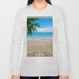Balcony with a Beach Ocean View Long Sleeve T-shirt
