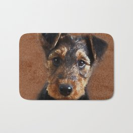 Airedale Terrier Puppy Digital Art Bath Mat