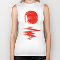 sun Biker Tanks featuring The Land of the Rising Sun by nicebleed