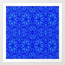 Blue on Blue Floral Pattern Art Print