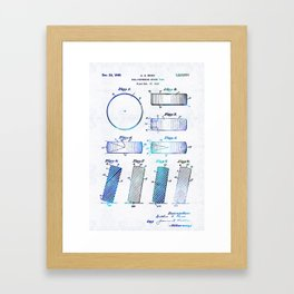 Blue Hockey Art - Hockey Puck Patent - Sharon Cummings Framed Art Print
