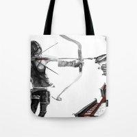 lara croft Tote Bags featuring Lara Croft: Dimensional Shift  by Sean Thomas McDowell