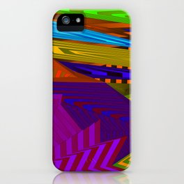 Fancy neon landscap with stylised violet mountains, sea and Sun. iPhone Case