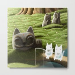 Elf Cat Fishing Metal Print
