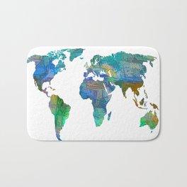 Blue World Transparent Map Bath Mat