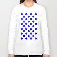 polka dots Long Sleeve T-shirts featuring Polka Dots (Blue/White) by 10813 Apparel