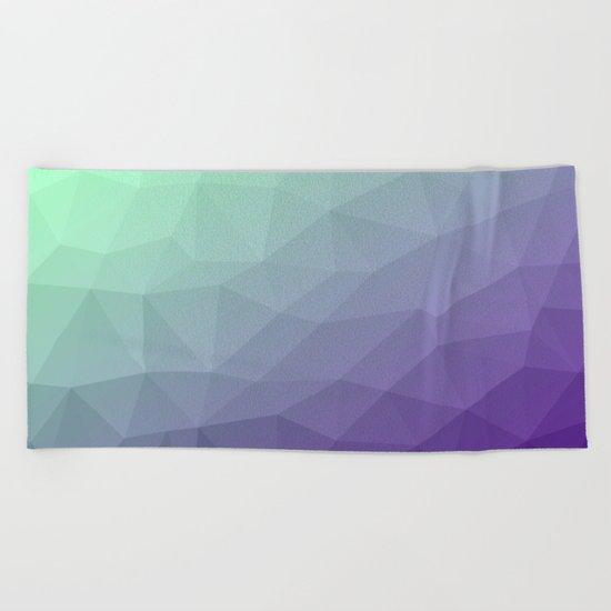 Purple green ombre gradient geometric mesh Beach Towel