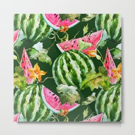 Watermelon Pattern Metal Print