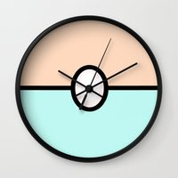 pokeball Wall Clocks featuring Pearl Pokeball by Astral