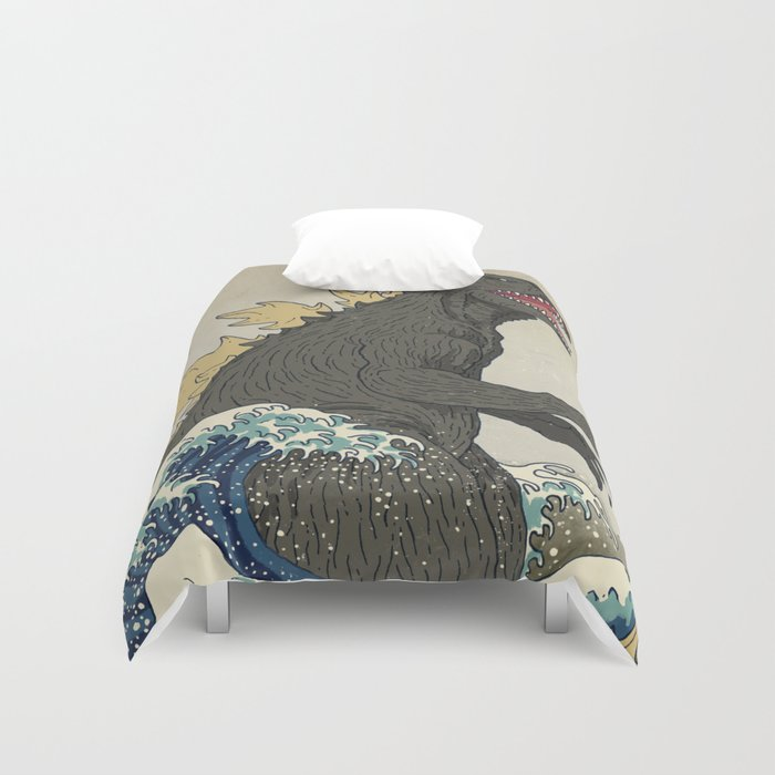 The Great Godzilla off Kanagawa Duvet Cover