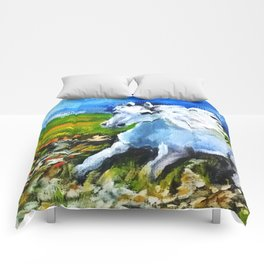 Horse in the landscape Comforters