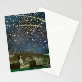 Shooting Stars, Summer Night by the Sea, Watch Hill, Rhode Island landscape by Franz Von Stuck Stationery Cards