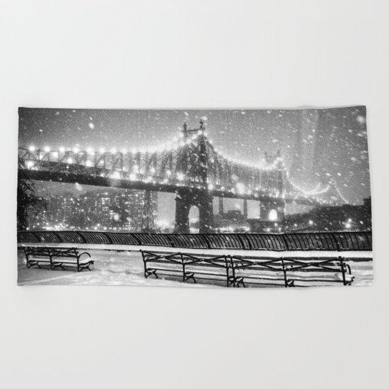 New York City Snow Beach Towel