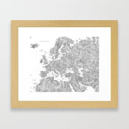 Gray watercolor map of Europe - PRINTS IN SIZES L and XL ONLY Framed Art Print