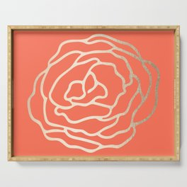 Rose White Gold Sands on Deep Coral Serving Tray