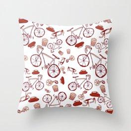 Bikes and Coffee Throw Pillow