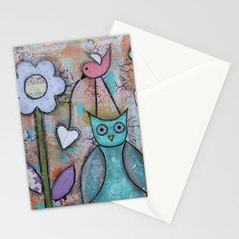 Owl & Flowers Stationery Cards