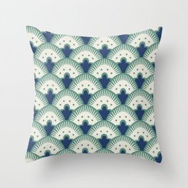 Fan Pattern Blue/Green Throw Pillow