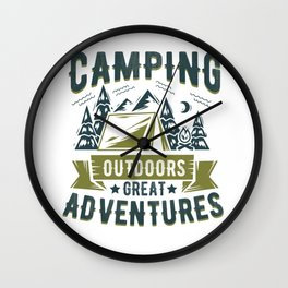 Camping Outdoors Great Adventures Wall Clock