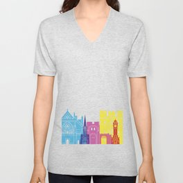 Exeter skyline pop Unisex V-Neck