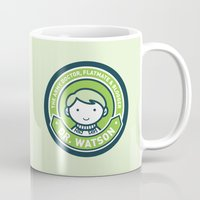 john green Mugs featuring Cute John Watson - Green by mydeardear