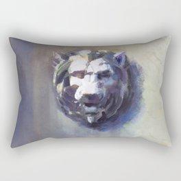 Lion Head White Marble Rectangular Pillow