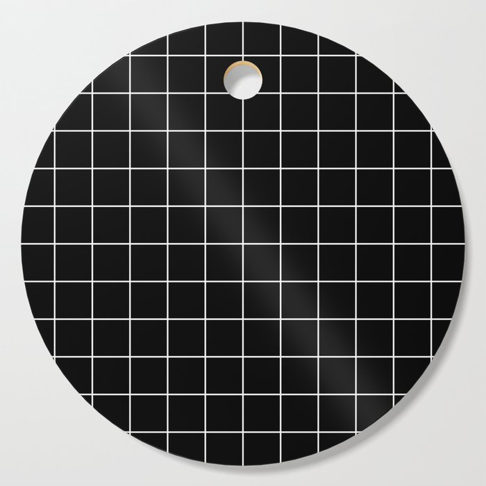 Grid Line Stripe Black and White Minimalist Geometric Cutting Board