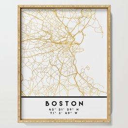 BOSTON MASSACHUSETTS CITY STREET MAP ART Serving Tray
