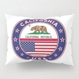 California, California t-shirt, California sticker, circle, California flag, white bg Pillow Sham