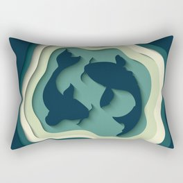 Paper Cutout Koi Fish 016 Rectangular Pillow
