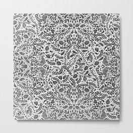 Inverted Black Flowers and Leaves Metal Print
