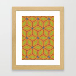 Green and Gold Tile Pattern Repeating Framed Art Print