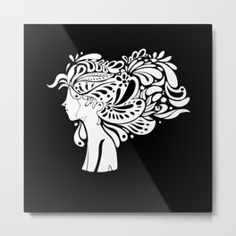 Creative Hair Young Woman Artistic Metal Print