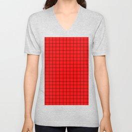 Black Grid On Red Unisex V-Neck