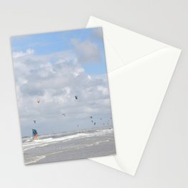 Colorfull photograph of kitesurfers at the beach -- Motion on a windy day in the Netherlands -- Art Print Stationery Cards