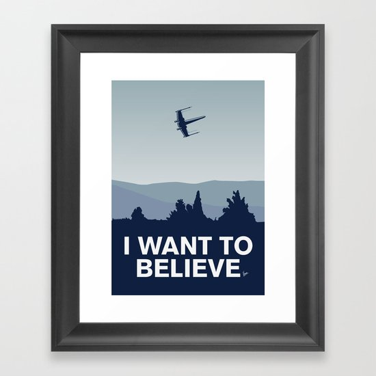My I want to believe minimal poster-xwing Framed Art Print