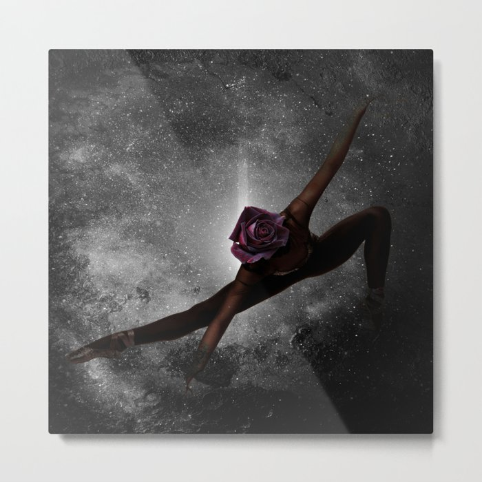 Ballet with Rose Metal Print