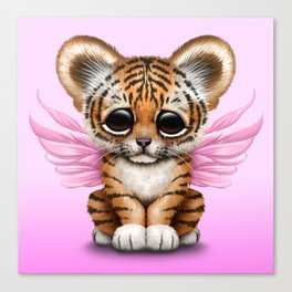 Cute Baby Tiger Cub with Fairy Wings on Pink Canvas Print