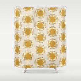 Golden Sun Pattern Shower Curtain
