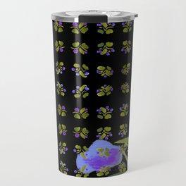 Atom Flowers #34 in purple and green Travel Mug