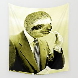 Gentleman Sloth lighting a cigarette Wall Tapestry
