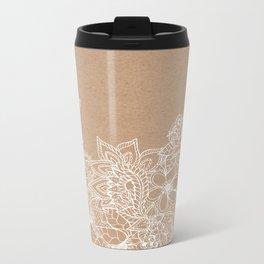 Modern white hand drawn floral illustration on rustic beige faux kraft color block Metal Travel Mug