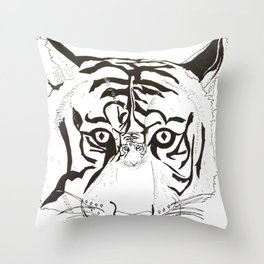 Triptych Tiger Throw Pillow