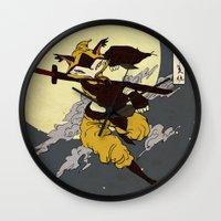 kitsune Wall Clocks featuring Kitsune by PD Design Studio