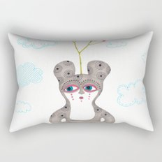 lonely cute creature with rose bush Rectangular Pillow