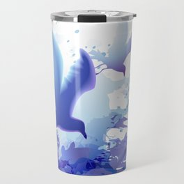 Watercolor sea ocean waves seascape with realistic birds, gulls, abstract water. Realism. Art. Travel Mug