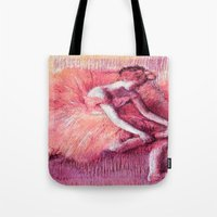 degas Tote Bags featuring Ballerina Peach by PureVintageLove