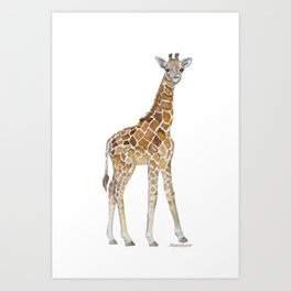 Baby Giraffe Watercolor Painting Art Print