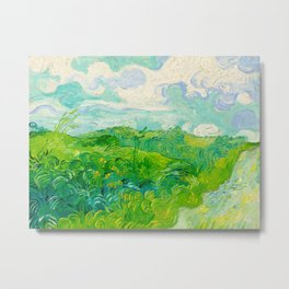 Field with Green Wheat 1890 Oil Painting By Vincent Van Gogh Metal Print